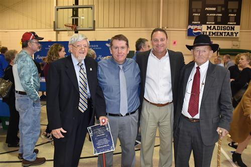 Former Mayor Burwell Wilbanks, former Principal W.R. Foutch, with Supt. Parker and Principal Jamie Golliver